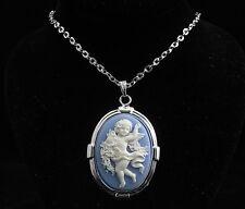 "18"" Silver Plated Cherub Cameo Pendant Necklace"