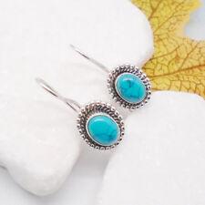 Mohve Türkis blau oval Nostalgie Design Ohrringe Ohrhänger 925 Sterling Silber