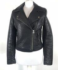 TOPSHOP Black Faux Leather Biker Jacket UK 10