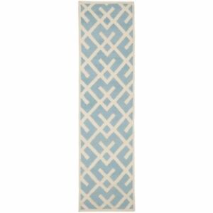 """Safavieh Light Blue/ Ivory Flat weave Wool Runner 2' 6"""" x 8'"""