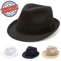 637d9171cb4e MIRMARU Beach Classic Trilby Short Brim 100% Cotton Twill Fedora Hat with  Band