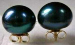 14k Solid Y/Gold 12-13mm AAA Real Tahitian Black Peacock Pearl Stud Earrings