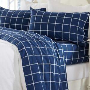 Great Bay Home 4 Piece Extra Soft Windowpane 100% Turkish Cotton Flannel Sheet S