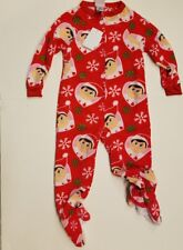 Girls The Elf On the Shelf Red Christmas 1 Piece Pajama's with feet Size 4