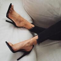 Transparent Sandals Peep Toe Clear High Heels Drag Queen Black Beige Large Shoes