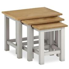 Farrow Grey Nest of Tables / Stone Painted Side Tables / Oak Top / Solid Wood