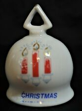 Christmas Candles Glass Bell, Collectible Holiday, Ring, White Red Candles