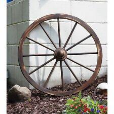 Wooden Wagon Wheel 30 In Rustic Outdoor Decor Home Patio Yard Garden Decoration
