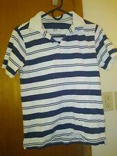 Boys Faded Glory Short Sleeve Polo with collar white/black stripe Shirt 10/12