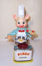 NICE 1950's BATTERY OPERATED PIGGY COOK BURGER CHEF BBQ TIN LITHO TOY JAPAN