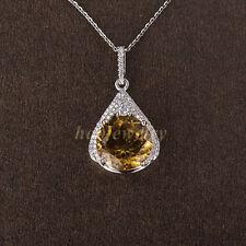 5.23CT Natural Brazil Citrine Solid 14K White Gold Diamond Pendant Necklace