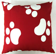 AL111a Red White Dog Footprints Cotton Canvas Cushion/Pillow Case*Custom Size