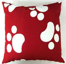 AL111a Red White Dog Footprints Cotton Canvas Cushion/Pillow Case*Custom Size
