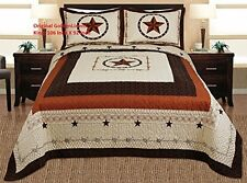 King Size Bed Quilt With Shams Western Design Cabin Decor Texas Cover Bedspread