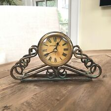 "HOWARD MILLER Gold Scrolly Metal MANTEL DESK CLOCK 8"" TALL KEEPS ACCURATE TIME"