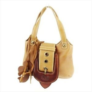 Dolce&Gabbana Hand bag Brown White leather Woman Authentic Used T8969