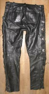 """Men - Lace-Up Leather Jeans / Biker Trousers With Conchos Black Approx. W35 """" /"""