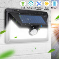 34 LED Solar Powered Motion Sensor Light Outdoor Garden Security Wall Lights New