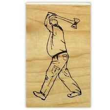 AXE THROWER large Mounted rubber stamp, Lumberjack, Timber Sports #14