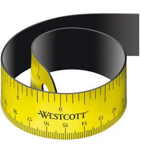 WESTCOTT Magnetisches Lineal Skalierung cm/inch flexibel Ruler Maßband E-1599000