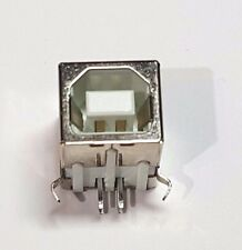 Type B USB Socket - USB Jack - PCB Mount - Silver / White - 5 Pin - UK Free P&P
