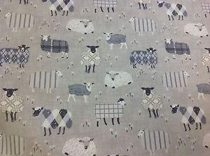 iliv SMD Baa Baa Sheep CHARCOAL Cotton Fabric.Curtains/Upholstery/Craft/Cushions