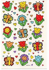 Vintage American Greeting Sticker, CUTE SMILEY FACE FLOWERS, 1 Sheet