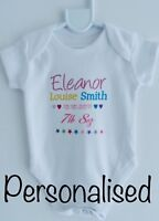 Baby PERSONALISED boy/girl babygrow vest clothing newborn gift keepsake ANY NAME