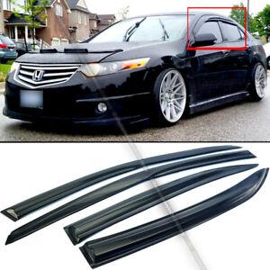 Fit 09-14 Acura TSX JDM Mugen Style 3D Wavy Black Tinted Window Visor 4 Pcs