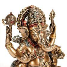 "GANESHA STATUE 5.5"" Hindu Elephant God Sitting HIGH QUALITY Bronze Plated Resin"