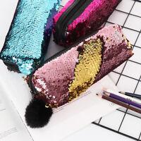 1PC Women Reversible Glitter Mermaid Sequins Pencil Case Cosmetic Bag Handbags