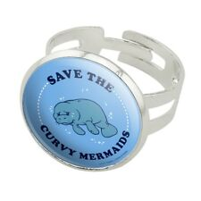 Save the Curvy Mermaids Manatee Funny Silver Plated Adjustable Novelty Ring