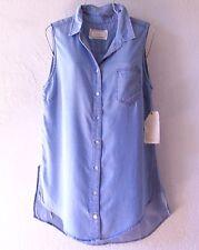 NEW~Chambray Denim Blue Blouse Shirt Button Tank Shell Top~12/14/L/Large