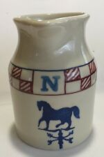 Hartstone Pottery Jug Pitcher Weather vane red white blue horse cow pig