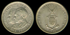 1936 US Commonwealth Of The Philippines QUEZON-ROOSEVELT 1 Peso Coin 1