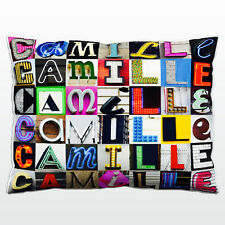 Personalized Pillow featuring the name CAMILLE in photos of actual sign letters