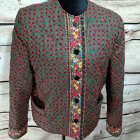 Vera Bradley Women's Size Medium Button Up Jacket Red Green Floral Holiday