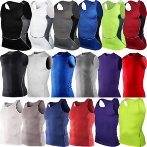 Mens Sleeveless Compression Base Layer Vest Lightweight Running Gym Fitness Tops