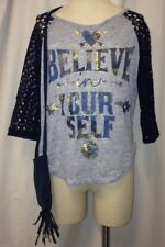 Beautees Girls' Believe in Your-Self Crochet Sleeve Top with Fringe Purse Sz XL