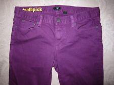 J Crew brand purple Toothpick stretch skinny jeans, ladies' waist size 30