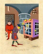 """""""LOUIS XI ET LE CARDINAL LA BALUE"""" Gouache originale entoilée de KERMORVER 1943"""