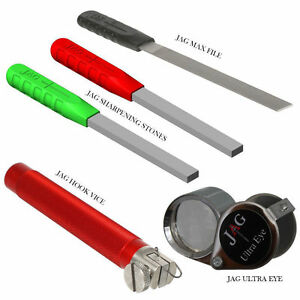 JAG Products NEW Hook Sharpening Tools SP Stones, Max File, Vice & Ultra Eye