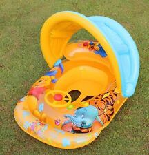 Winnie the Pooh Inflatable Baby Kid Float Seat Boat Tube Ring Sun shade Swimming