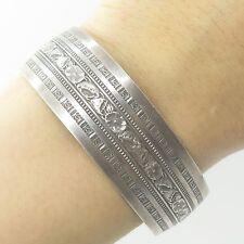 Danecraft Vtg 925 Sterling Silver Wide Floral Cuff Bracelet 7