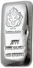 100g Scottsdale Mint Silver Bullion Bar 999.0 Fine Silver Cast Bar