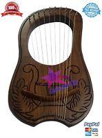 New Lyre Harp Rosewood Engraved 10 Metal Strings/Lyra Harp Strings/lyre Harps