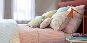 """NWT NEW Yves Delorme Voguer Coral Menthe Duvet Cover Queen 92 x 92"""""""