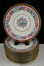 "(12) Ahrenfeldt Limoges Jeanne D'Arc Floral Porcelain 8 1/2"" Salad Plates"