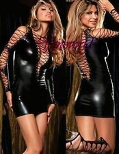 Sexy Exotic Black Long Sleeve Lace-Up PVC Dress Spandex Lingerie 10-12 ❤Aus❤