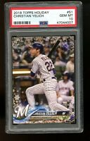 2018 Topps Holiday #51 Christian Yelich Milwaukee Brewers PSA 10 GEM MINT!